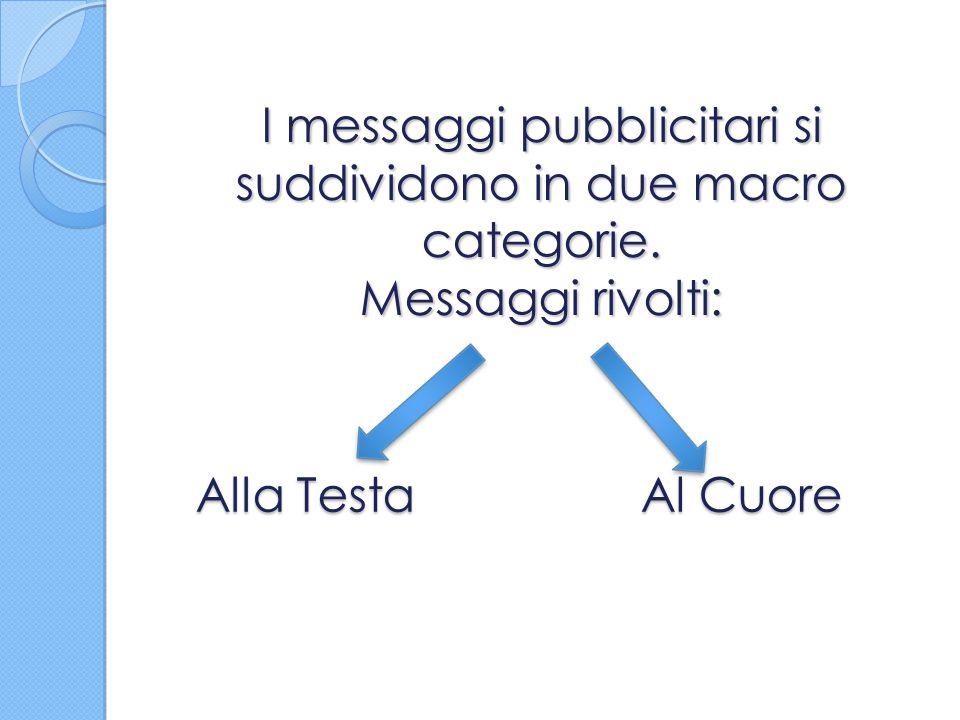 I messaggi pubblicitari si suddividono in due macro categorie. Messaggi rivolti: Alla Testa Al Cuore