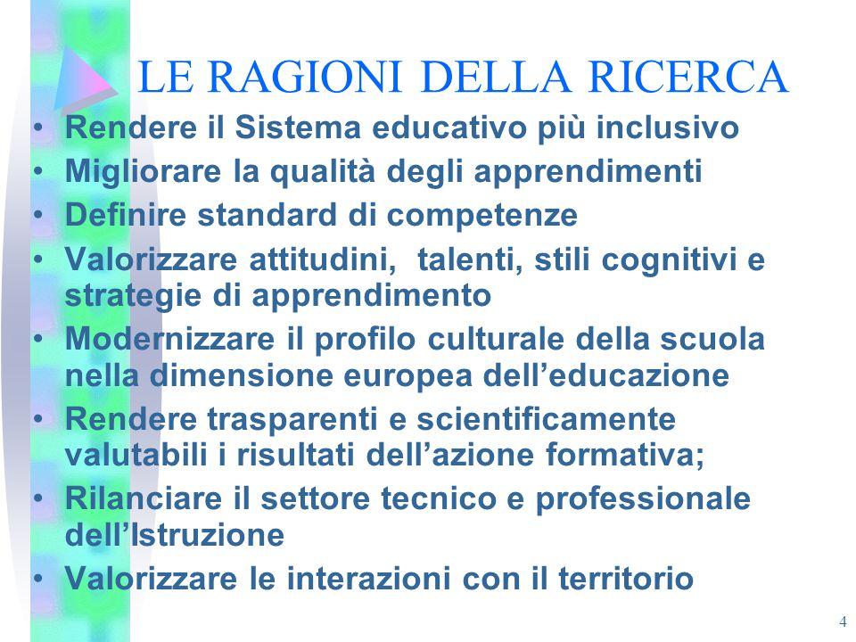 4 LE RAGIONI DELLA RICERCA Rendere il Sistema educativo più inclusivo Migliorare la qualità degli apprendimenti Definire standard di competenze Valori