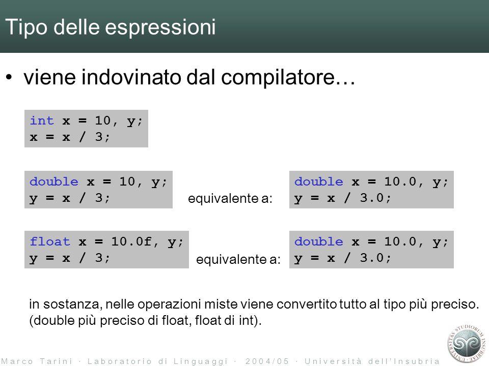 M a r c o T a r i n i ‧ L a b o r a t o r i o d i L i n g u a g g i ‧ 2 0 0 4 / 0 5 ‧ U n i v e r s i t à d e l l ' I n s u b r i a Tipo delle espressioni viene indovinato dal compilatore… int x = 10, y; x = x / 3; double x = 10, y; y = x / 3; equivalente a: double x = 10.0, y; y = x / 3.0; float x = 10.0f, y; y = x / 3; equivalente a: double x = 10.0, y; y = x / 3.0; in sostanza, nelle operazioni miste viene convertito tutto al tipo più preciso.
