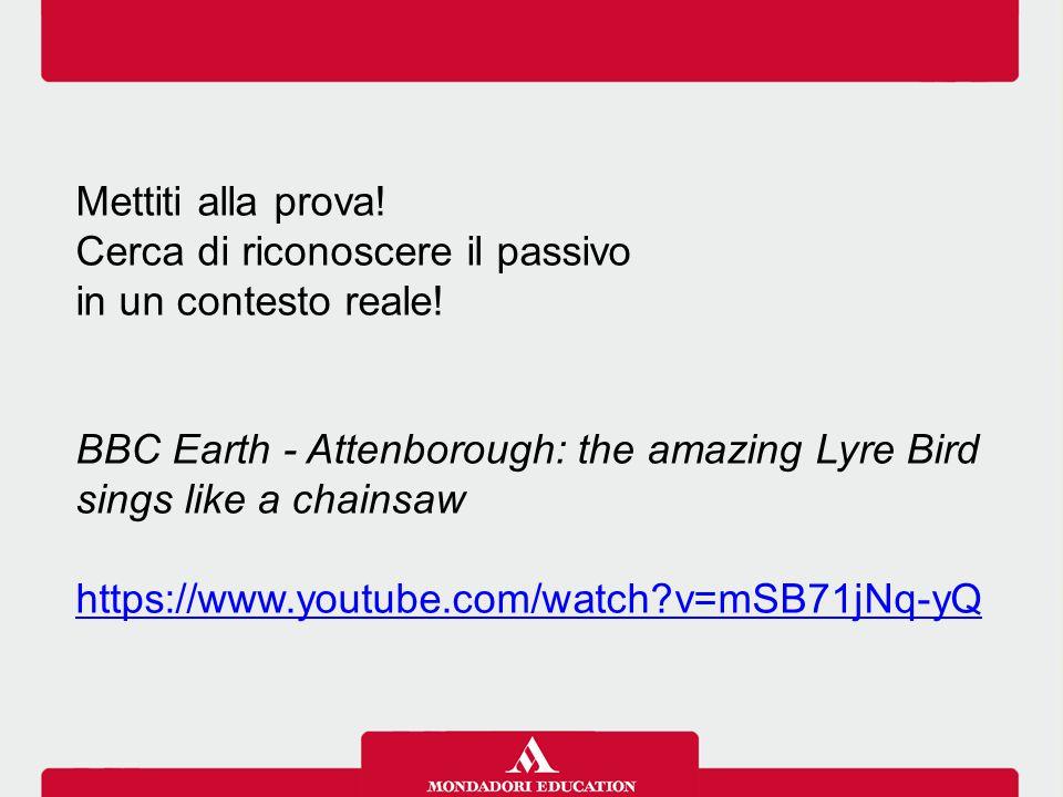 Mettiti alla prova! Cerca di riconoscere il passivo in un contesto reale! BBC Earth - Attenborough: the amazing Lyre Bird sings like a chainsaw https: