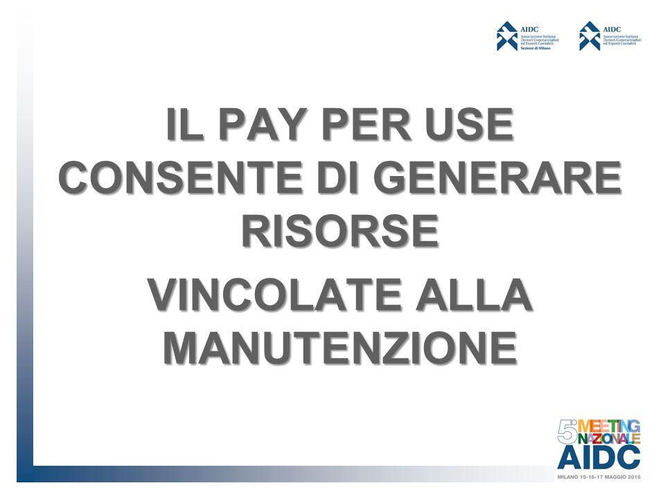 IL PAY PER USE CONSENTE DI GENERARE RISORSE VINCOLATE ALLA MANUTENZIONE