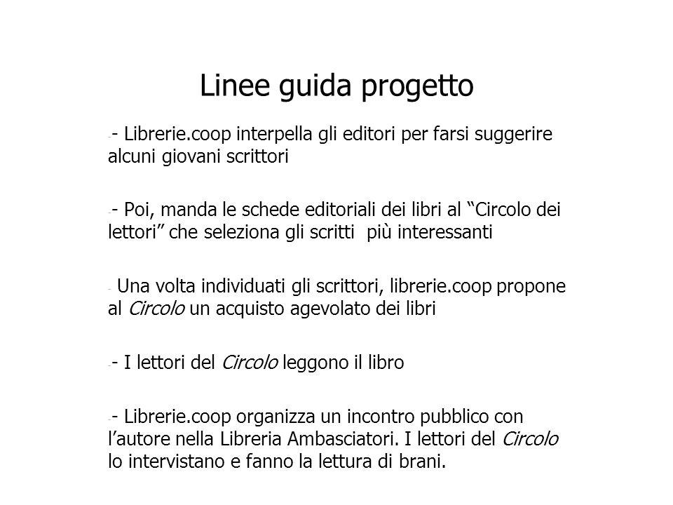 Linee guida progetto - - Librerie.coop interpella gli editori per farsi suggerire alcuni giovani scrittori - - Poi, manda le schede editoriali dei lib
