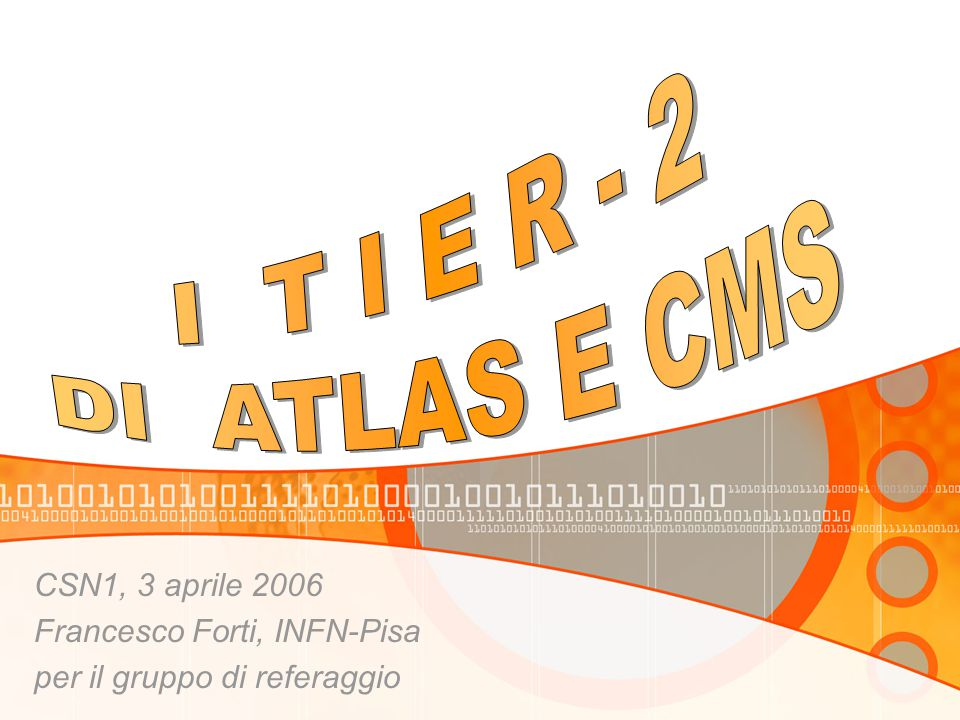 3/4/06 F.Forti - Tier242 PISA Servizio Calcolo personale a tempo indeterminato5 a tempo determinato3 FTE dedicati al Tier 2 a tempo indeterminato2 a tempo determinato3 Comunita' 22 ricercatori locali 10 (a tempo indeterminato) + 12 (a tempo determinato) totale 20.6 FTE 66 ricercatori della comunita' di riferimento (PI, BA, CT, FI, PG, TO) Fisici direttamente coinvolti gestione: 5 persone staff: 4, post-doc: 1 Tecnologi direttamente coinvolti: 1 non-staff Tecnici direttamente coinvolti: 0