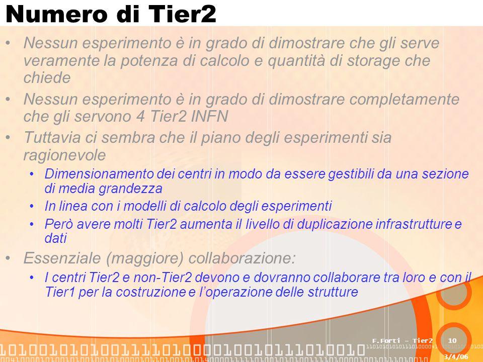 3/4/06 F.Forti - Tier210 Numero di Tier2 Nessun esperimento è in grado di dimostrare che gli serve veramente la potenza di calcolo e quantità di storage che chiede Nessun esperimento è in grado di dimostrare completamente che gli servono 4 Tier2 INFN Tuttavia ci sembra che il piano degli esperimenti sia ragionevole Dimensionamento dei centri in modo da essere gestibili da una sezione di media grandezza In linea con i modelli di calcolo degli esperimenti Però avere molti Tier2 aumenta il livello di duplicazione infrastrutture e dati Essenziale (maggiore) collaborazione: I centri Tier2 e non-Tier2 devono e dovranno collaborare tra loro e con il Tier1 per la costruzione e l'operazione delle strutture