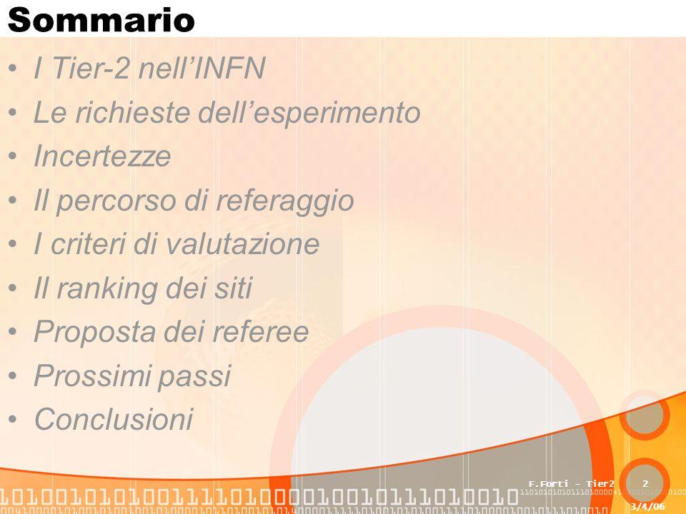 3/4/06 F.Forti - Tier22 Sommario I Tier-2 nell'INFN Le richieste dell'esperimento Incertezze Il percorso di referaggio I criteri di valutazione Il ran