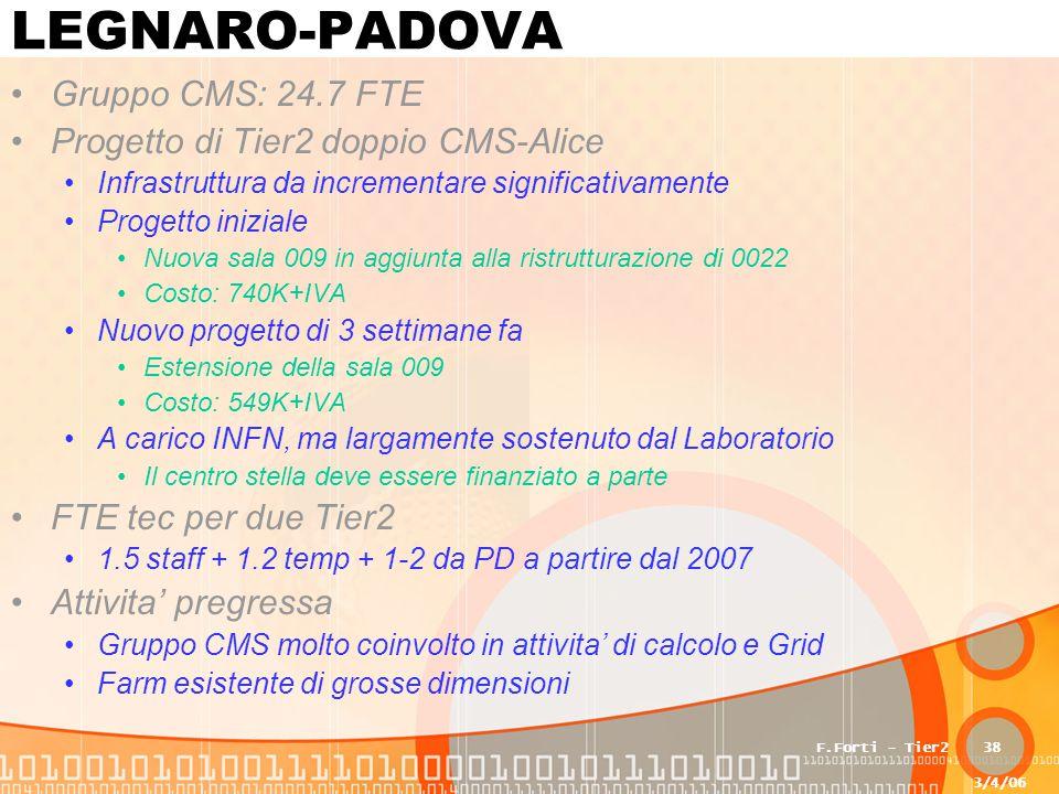3/4/06 F.Forti - Tier238 LEGNARO-PADOVA Gruppo CMS: 24.7 FTE Progetto di Tier2 doppio CMS-Alice Infrastruttura da incrementare significativamente Progetto iniziale Nuova sala 009 in aggiunta alla ristrutturazione di 0022 Costo: 740K+IVA Nuovo progetto di 3 settimane fa Estensione della sala 009 Costo: 549K+IVA A carico INFN, ma largamente sostenuto dal Laboratorio Il centro stella deve essere finanziato a parte FTE tec per due Tier2 1.5 staff + 1.2 temp + 1-2 da PD a partire dal 2007 Attivita' pregressa Gruppo CMS molto coinvolto in attivita' di calcolo e Grid Farm esistente di grosse dimensioni