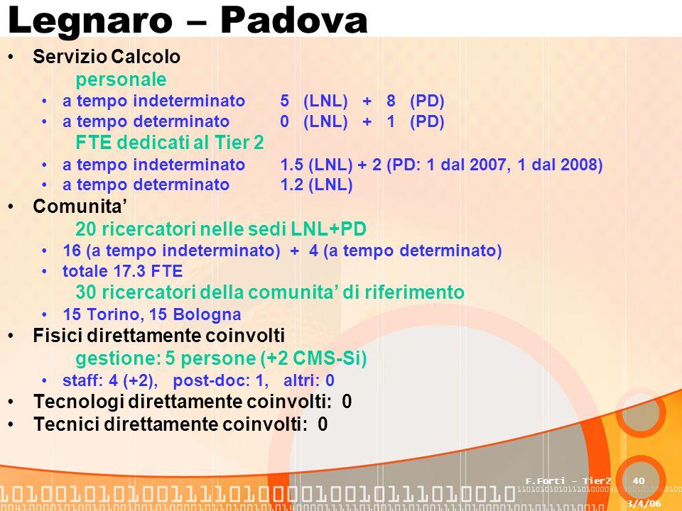 3/4/06 F.Forti - Tier240 Legnaro – Padova Servizio Calcolo personale a tempo indeterminato5 (LNL) + 8 (PD) a tempo determinato0 (LNL) + 1 (PD) FTE dedicati al Tier 2 a tempo indeterminato1.5 (LNL) + 2 (PD: 1 dal 2007, 1 dal 2008) a tempo determinato1.2 (LNL) Comunita' 20 ricercatori nelle sedi LNL+PD 16 (a tempo indeterminato) + 4 (a tempo determinato) totale 17.3 FTE 30 ricercatori della comunita' di riferimento 15 Torino, 15 Bologna Fisici direttamente coinvolti gestione: 5 persone (+2 CMS-Si) staff: 4 (+2), post-doc: 1, altri: 0 Tecnologi direttamente coinvolti: 0 Tecnici direttamente coinvolti: 0