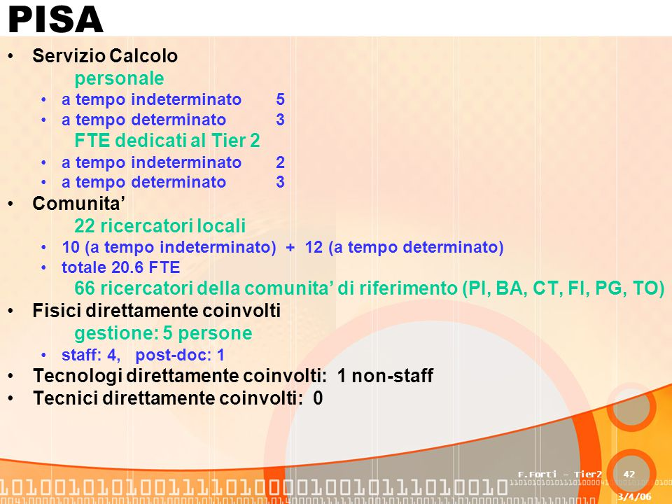 3/4/06 F.Forti - Tier242 PISA Servizio Calcolo personale a tempo indeterminato5 a tempo determinato3 FTE dedicati al Tier 2 a tempo indeterminato2 a t