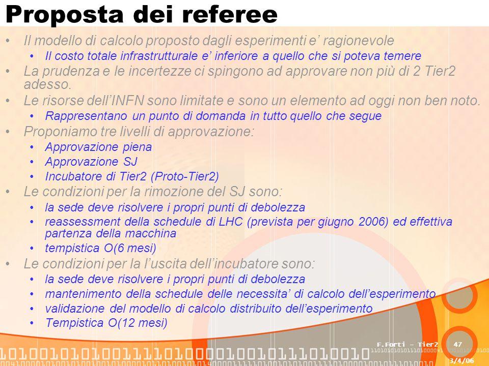3/4/06 F.Forti - Tier247 Proposta dei referee Il modello di calcolo proposto dagli esperimenti e' ragionevole Il costo totale infrastrutturale e' infe