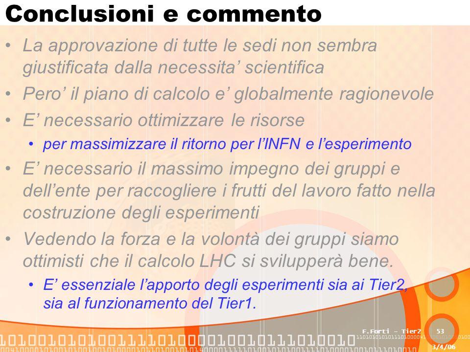 3/4/06 F.Forti - Tier253 Conclusioni e commento La approvazione di tutte le sedi non sembra giustificata dalla necessita' scientifica Pero' il piano d