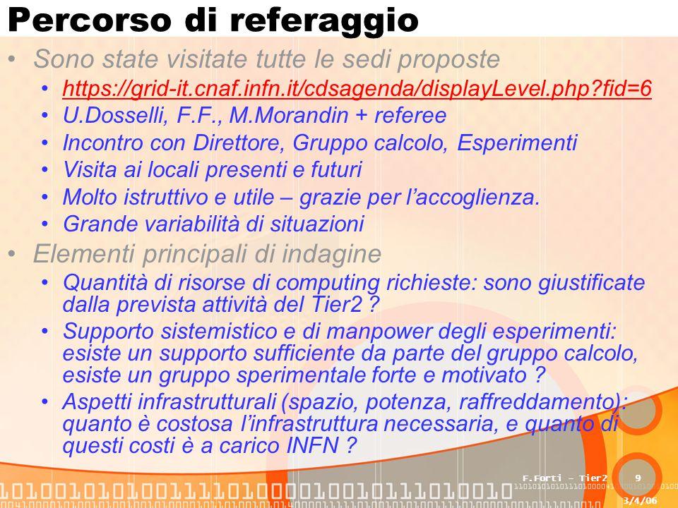 3/4/06 F.Forti - Tier29 Percorso di referaggio Sono state visitate tutte le sedi proposte https://grid-it.cnaf.infn.it/cdsagenda/displayLevel.php?fid=6 U.Dosselli, F.F., M.Morandin + referee Incontro con Direttore, Gruppo calcolo, Esperimenti Visita ai locali presenti e futuri Molto istruttivo e utile – grazie per l'accoglienza.