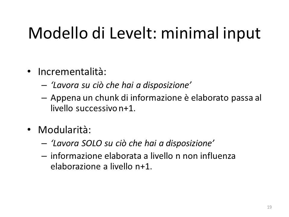 19 Modello di Levelt: minimal input Incrementalità: – 'Lavora su ciò che hai a disposizione' – Appena un chunk di informazione è elaborato passa al livello successivo n+1.