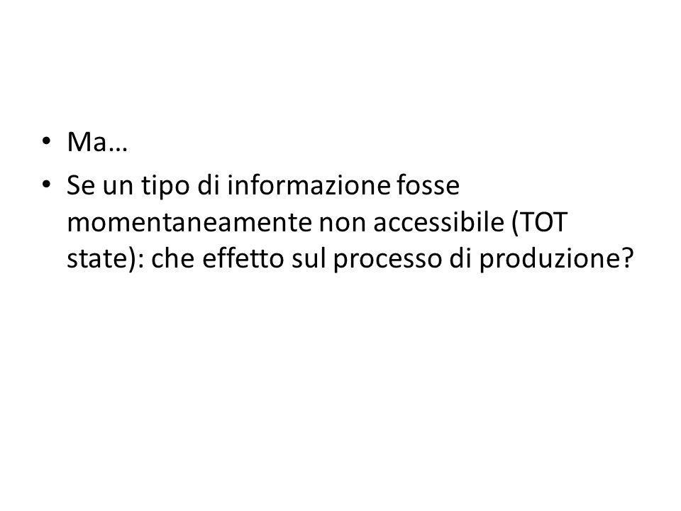 Ma… Se un tipo di informazione fosse momentaneamente non accessibile (TOT state): che effetto sul processo di produzione