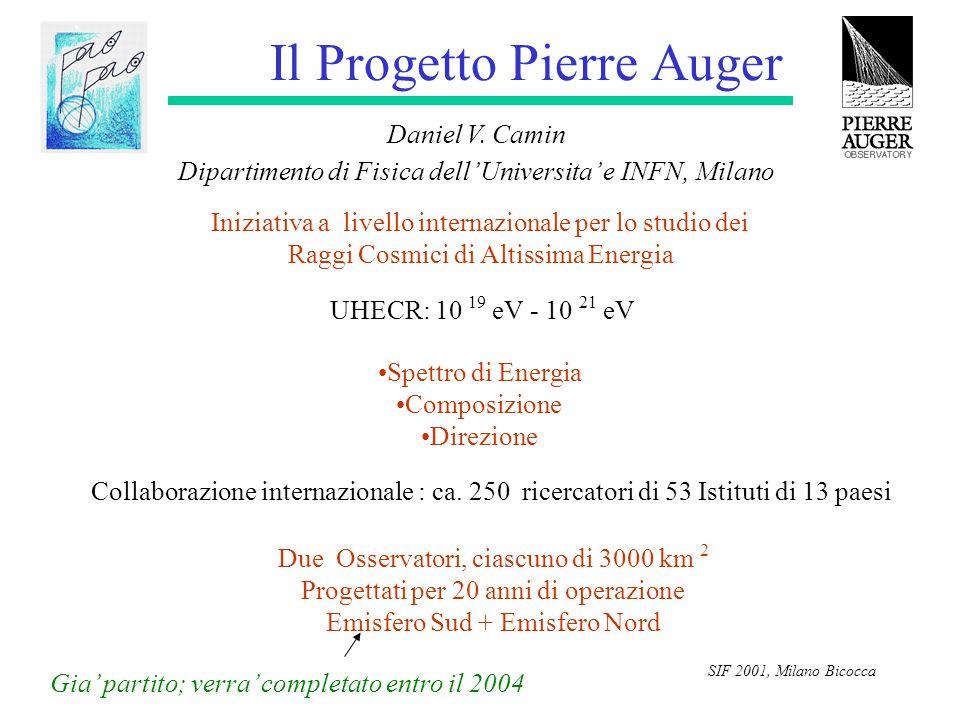 SIF 2001, Milano Bicocca Il Progetto Pierre Auger Daniel V. Camin Dipartimento di Fisica dell'Universita' e INFN, Milano Iniziativa a livello internaz
