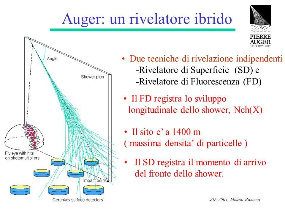 SIF 2001, Milano Bicocca I rivelatori SD e FD 1) Rivelatore di Superficie: Cerenkov ad acqua 100% duty cycle permette la determinazione di: -asse dello shower -massa del primario 2) Rivelatore di Fluorescenza: 10% duty cycle Misura calorimetrica Permette la determinazione del profilo longitudinale 3) Per il 10 % del tempo: Rivelatore ibrido Due misure indipendenti dello stesso sciame Intercalibrazione di entrambi I rivelatori Determinazione indipendente della massa del primario