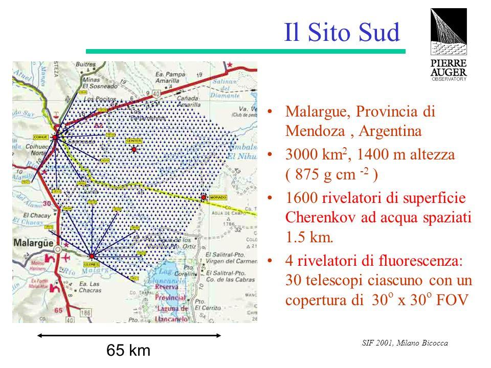SIF 2001, Milano Bicocca Il Sito Sud Malargue, Provincia di Mendoza, Argentina 3000 km 2, 1400 m altezza ( 875 g cm -2 ) 1600 rivelatori di superficie