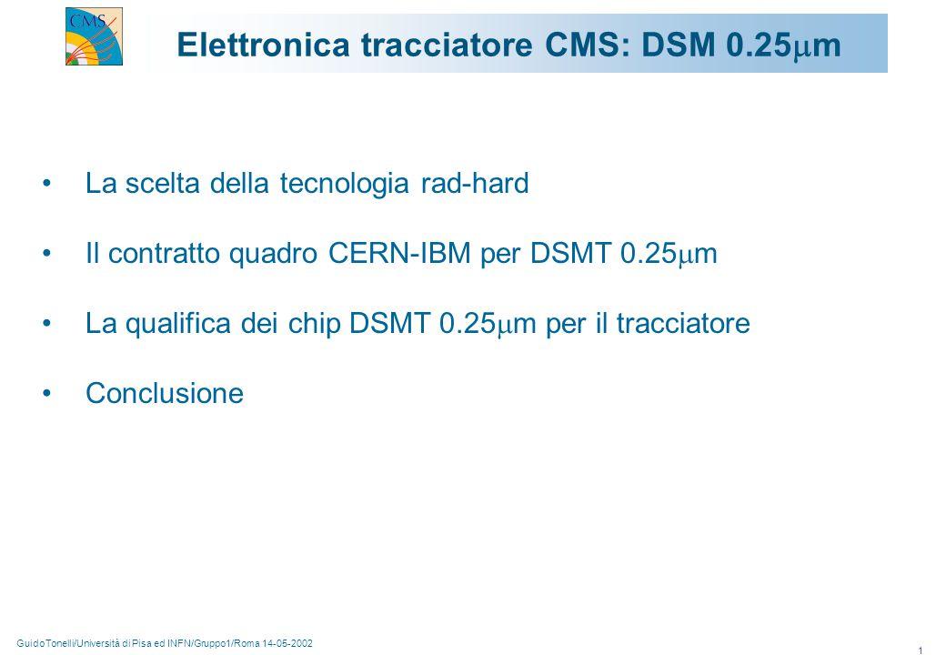 GuidoTonelli/Università di Pisa ed INFN/Gruppo1/Roma 14-05-2002 1 Elettronica tracciatore CMS: DSM 0.25  m La scelta della tecnologia rad-hard Il contratto quadro CERN-IBM per DSMT 0.25  m La qualifica dei chip DSMT 0.25  m per il tracciatore Conclusione