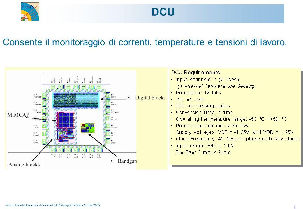 GuidoTonelli/Università di Pisa ed INFN/Gruppo1/Roma 14-05-2002 6 DCU Consente il monitoraggio di correnti, temperature e tensioni di lavoro.
