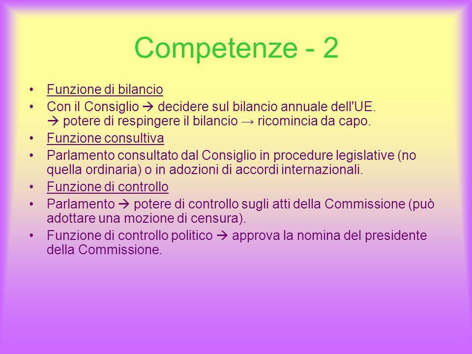 Competenze - 2 Funzione di bilancio Con il Consiglio  decidere sul bilancio annuale dell UE.