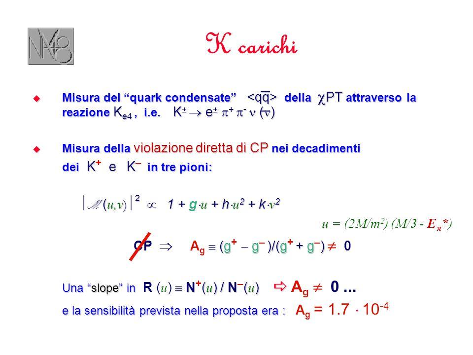 K carichi  Misura del quark condensate della  PT attraverso la reazione K e4, i.e.