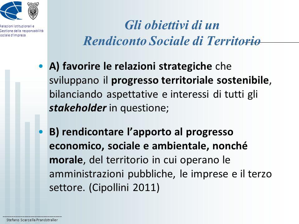 ____________________________ Stefano Scarcella Prandstraller Relazioni istituzionali e Gestione della responsabilità sociale d'impresa Gli obiettivi di un Rendiconto Sociale di Territorio A) favorire le relazioni strategiche che sviluppano il progresso territoriale sostenibile, bilanciando aspettative e interessi di tutti gli stakeholder in questione; B) rendicontare l'apporto al progresso economico, sociale e ambientale, nonché morale, del territorio in cui operano le amministrazioni pubbliche, le imprese e il terzo settore.
