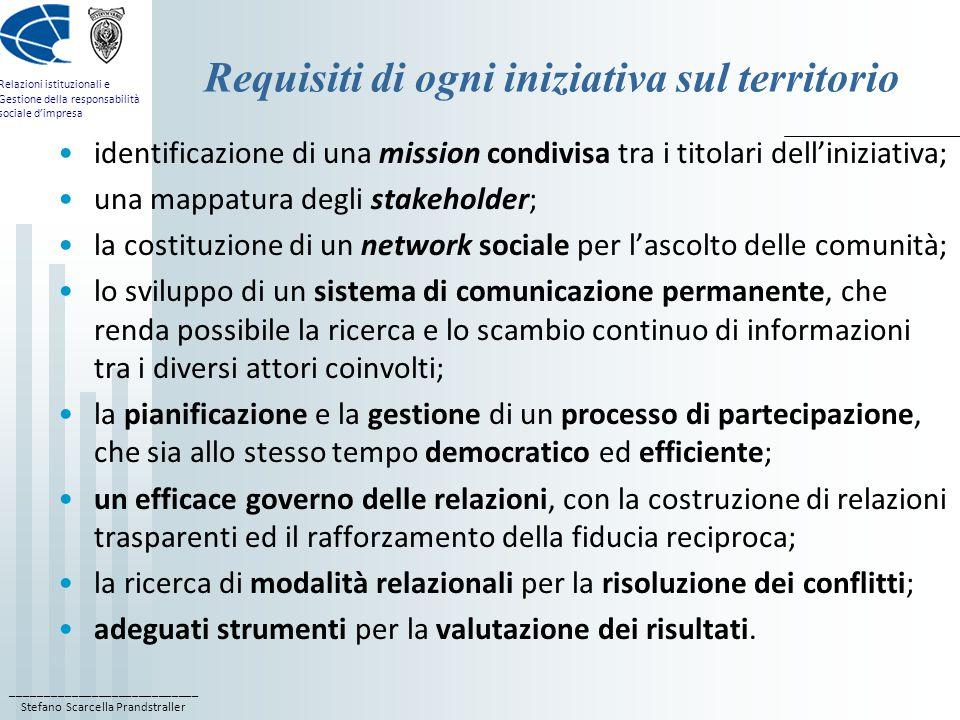 ____________________________ Stefano Scarcella Prandstraller Relazioni istituzionali e Gestione della responsabilità sociale d'impresa Requisiti di ogni iniziativa sul territorio identificazione di una mission condivisa tra i titolari dell'iniziativa; una mappatura degli stakeholder; la costituzione di un network sociale per l'ascolto delle comunità; lo sviluppo di un sistema di comunicazione permanente, che renda possibile la ricerca e lo scambio continuo di informazioni tra i diversi attori coinvolti; la pianificazione e la gestione di un processo di partecipazione, che sia allo stesso tempo democratico ed efficiente; un efficace governo delle relazioni, con la costruzione di relazioni trasparenti ed il rafforzamento della fiducia reciproca; la ricerca di modalità relazionali per la risoluzione dei conflitti; adeguati strumenti per la valutazione dei risultati.