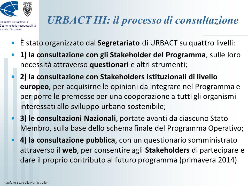 ____________________________ Stefano Scarcella Prandstraller Relazioni istituzionali e Gestione della responsabilità sociale d'impresa URBACT III: il processo di consultazione È stato organizzato dal Segretariato di URBACT su quattro livelli: 1) la consultazione con gli Stakeholder del Programma, sulle loro necessità attraverso questionari e altri strumenti; 2) la consultazione con Stakeholders istituzionali di livello europeo, per acquisirne le opinioni da integrare nel Programma e per porre le premesse per una cooperazione a tutti gli organismi interessati allo sviluppo urbano sostenibile; 3) le consultazioni Nazionali, portate avanti da ciascuno Stato Membro, sulla base dello schema finale del Programma Operativo; 4) la consultazione pubblica, con un questionario somministrato attraverso il web, per consentire agli Stakeholders di partecipare e dare il proprio contributo al futuro programma (primavera 2014)