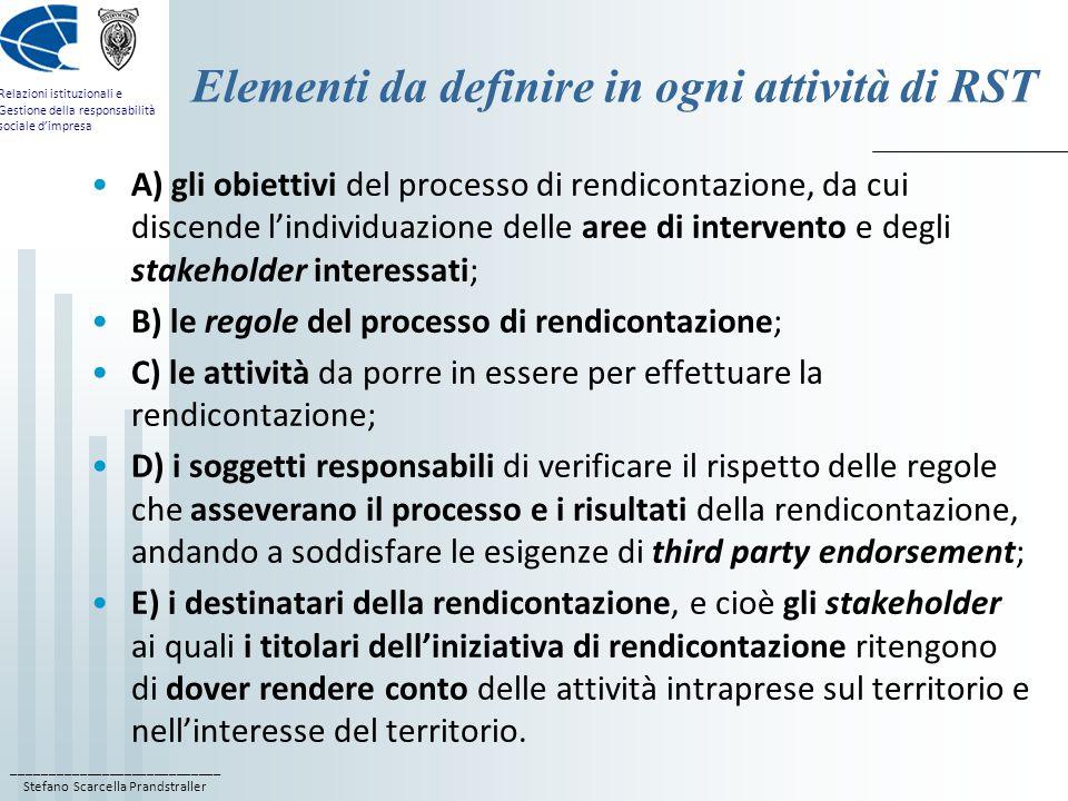 ____________________________ Stefano Scarcella Prandstraller Relazioni istituzionali e Gestione della responsabilità sociale d'impresa Elementi da definire in ogni attività di RST A) gli obiettivi del processo di rendicontazione, da cui discende l'individuazione delle aree di intervento e degli stakeholder interessati; B) le regole del processo di rendicontazione; C) le attività da porre in essere per effettuare la rendicontazione; D) i soggetti responsabili di verificare il rispetto delle regole che asseverano il processo e i risultati della rendicontazione, andando a soddisfare le esigenze di third party endorsement; E) i destinatari della rendicontazione, e cioè gli stakeholder ai quali i titolari dell'iniziativa di rendicontazione ritengono di dover rendere conto delle attività intraprese sul territorio e nell'interesse del territorio.