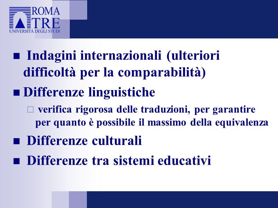 Indagini internazionali (ulteriori difficoltà per la comparabilità) Differenze linguistiche  verifica rigorosa delle traduzioni, per garantire per quanto è possibile il massimo della equivalenza Differenze culturali Differenze tra sistemi educativi