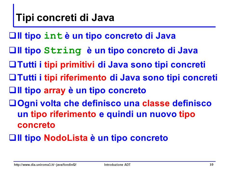 http://www.dia.uniroma3.it/~java/fondinf2/Introduzione ADT 10 Tipi concreti di Java  Il tipo int è un tipo concreto di Java  Il tipo String è un tip