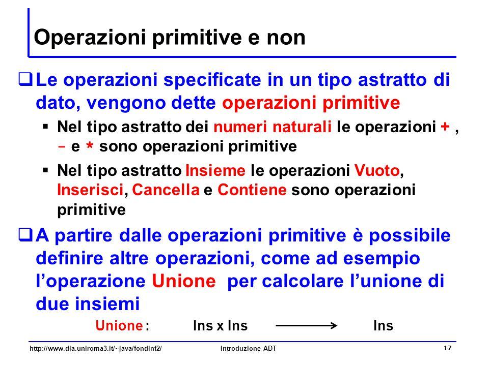 http://www.dia.uniroma3.it/~java/fondinf2/Introduzione ADT 17 Operazioni primitive e non  Le operazioni specificate in un tipo astratto di dato, veng