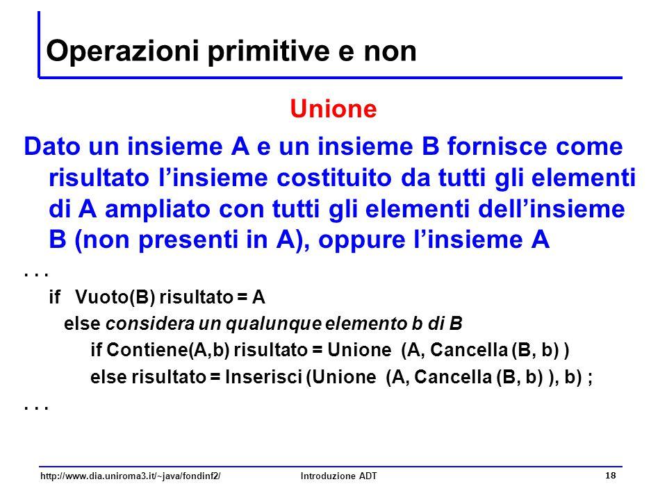 http://www.dia.uniroma3.it/~java/fondinf2/Introduzione ADT 18 Operazioni primitive e non Unione Dato un insieme A e un insieme B fornisce come risultato l'insieme costituito da tutti gli elementi di A ampliato con tutti gli elementi dell'insieme B (non presenti in A), oppure l'insieme A...