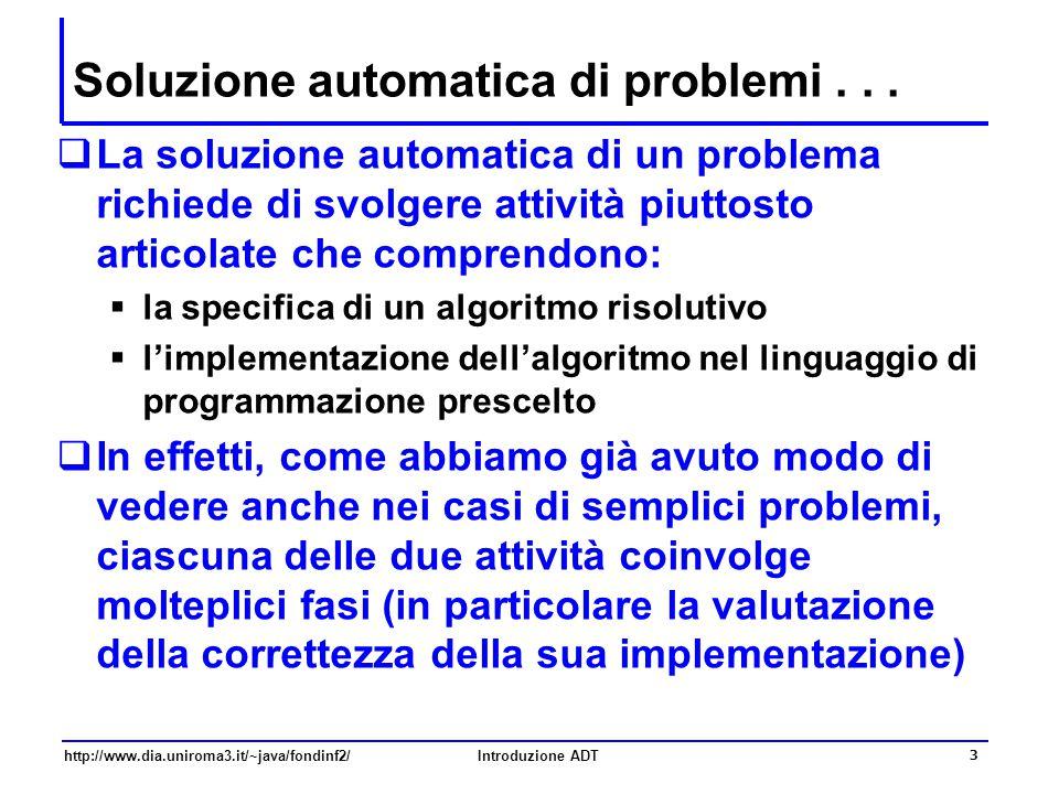 http://www.dia.uniroma3.it/~java/fondinf2/Introduzione ADT 3 Soluzione automatica di problemi...  La soluzione automatica di un problema richiede di
