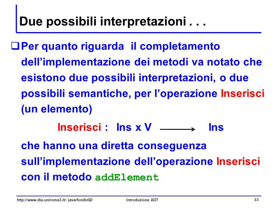 http://www.dia.uniroma3.it/~java/fondinf2/Introduzione ADT 33 Due possibili interpretazioni...  Per quanto riguarda il completamento dell'implementaz