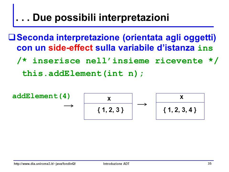 http://www.dia.uniroma3.it/~java/fondinf2/Introduzione ADT 35... Due possibili interpretazioni  Seconda interpretazione (orientata agli oggetti) con