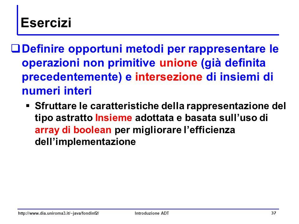 http://www.dia.uniroma3.it/~java/fondinf2/Introduzione ADT 37 Esercizi  Definire opportuni metodi per rappresentare le operazioni non primitive union