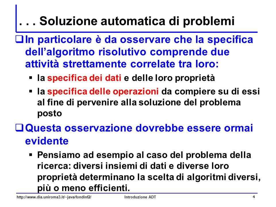 http://www.dia.uniroma3.it/~java/fondinf2/Introduzione ADT 4... Soluzione automatica di problemi  In particolare è da osservare che la specifica dell