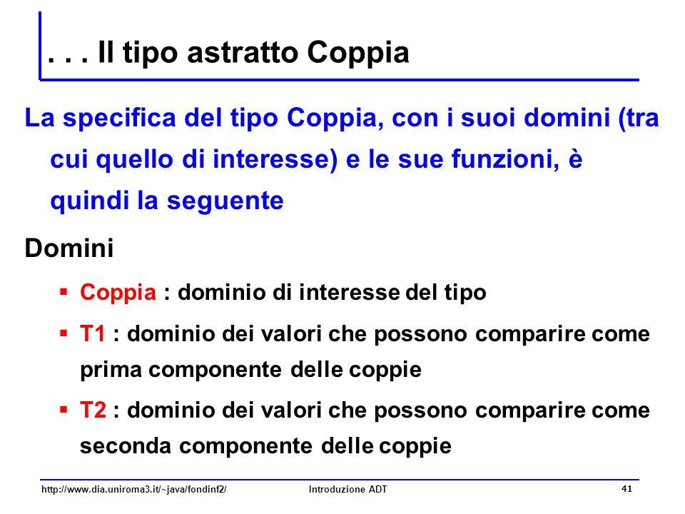 http://www.dia.uniroma3.it/~java/fondinf2/Introduzione ADT 41... Il tipo astratto Coppia La specifica del tipo Coppia, con i suoi domini (tra cui quel