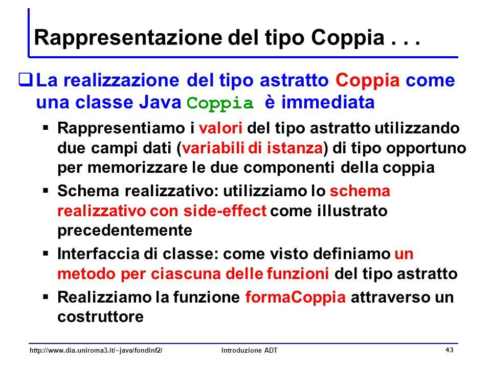 http://www.dia.uniroma3.it/~java/fondinf2/Introduzione ADT 43 Rappresentazione del tipo Coppia...  La realizzazione del tipo astratto Coppia come una