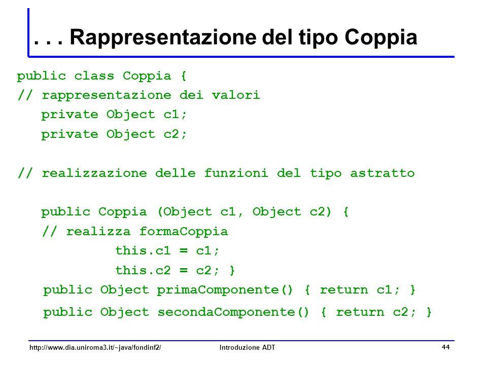 http://www.dia.uniroma3.it/~java/fondinf2/Introduzione ADT 44... Rappresentazione del tipo Coppia public class Coppia { // rappresentazione dei valori