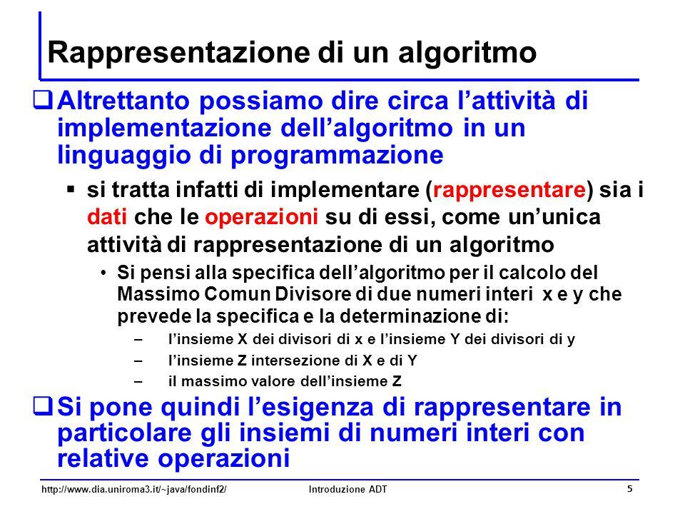 http://www.dia.uniroma3.it/~java/fondinf2/Introduzione ADT 16 Il tipo astratto Insieme  Va notato che nella specifica delle operazioni si fa riferimento a vari domini: oltre al dominio Ins, si fa infatti riferimento anche ai domini V e Boolean  La denotazione del tipo di dato astratto Insieme è quindi data dalla terna  S = { Ins, V, Boolean }  F = { Vuoto, Inserisci, Cancella, Contiene }  C = { Insieme_Vuoto }