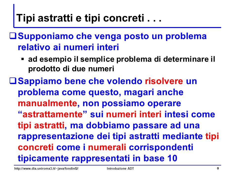 http://www.dia.uniroma3.it/~java/fondinf2/Introduzione ADT 29 Interfaccia InsiemeDiInteri interface InsiemeDiInteri { boolean isEmpty(); //post: restituisce true sse l'insieme e' vuoto void addElement(int n); //pre: n > 0 //post: inserisce il numero n nell'insieme void remove(int n); //pre: n > 0 //post: rimuove il numero n dall'insieme boolean contains(int n); //pre: n > 0 //post: restituisce true sse l'insieme contiene n }