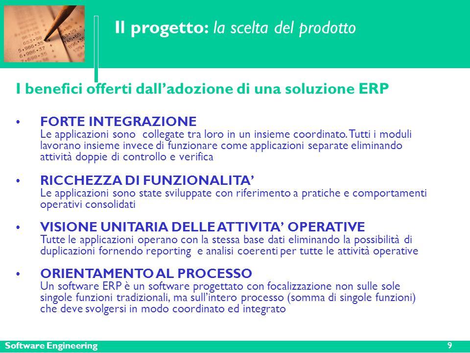 Software Engineering Il progetto: la scelta del prodotto I benefici offerti dall'adozione di una soluzione ERP FORTE INTEGRAZIONE Le applicazioni sono collegate tra loro in un insieme coordinato.
