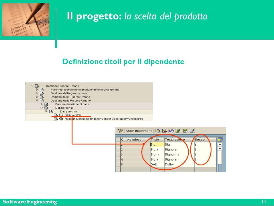 Software Engineering11 Il progetto: la scelta del prodotto Definizione titoli per il dipendente