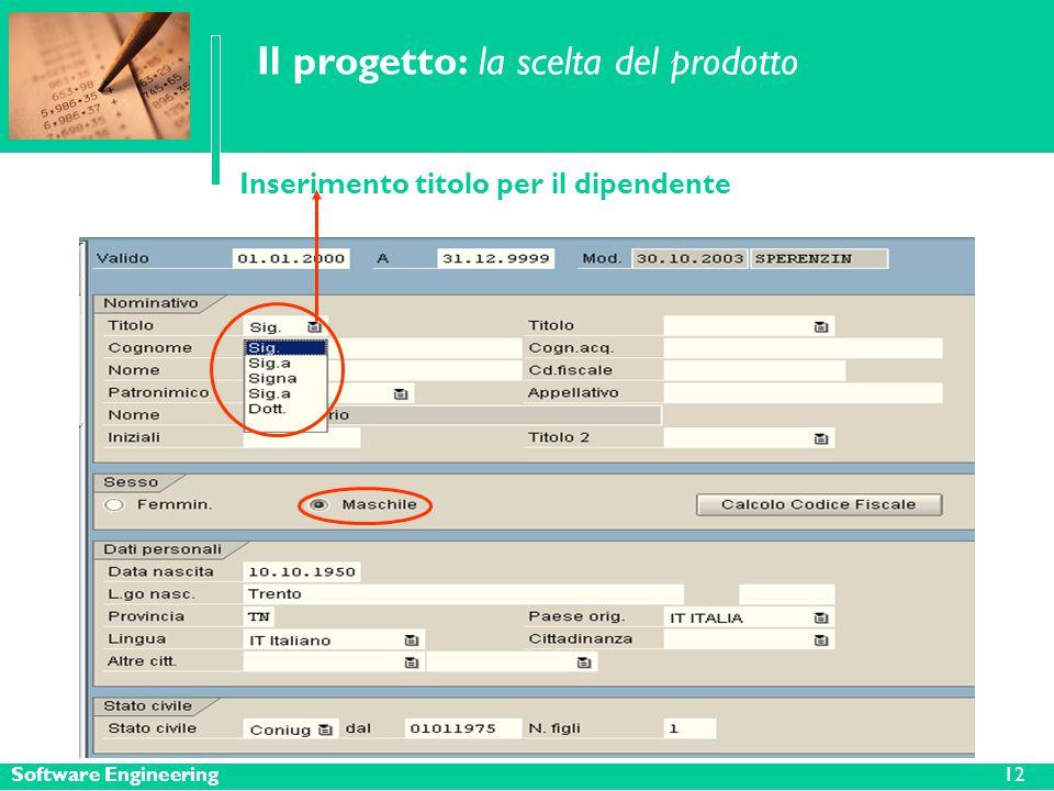 Software Engineering12 Il progetto: la scelta del prodotto Inserimento titolo per il dipendente