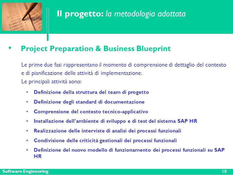 Software Engineering Il progetto: la metodologia adottata Project Preparation & Business Blueprint Le prime due fasi rappresentano il momento di comprensione di dettaglio del contesto e di pianificazione delle attività di implementazione.