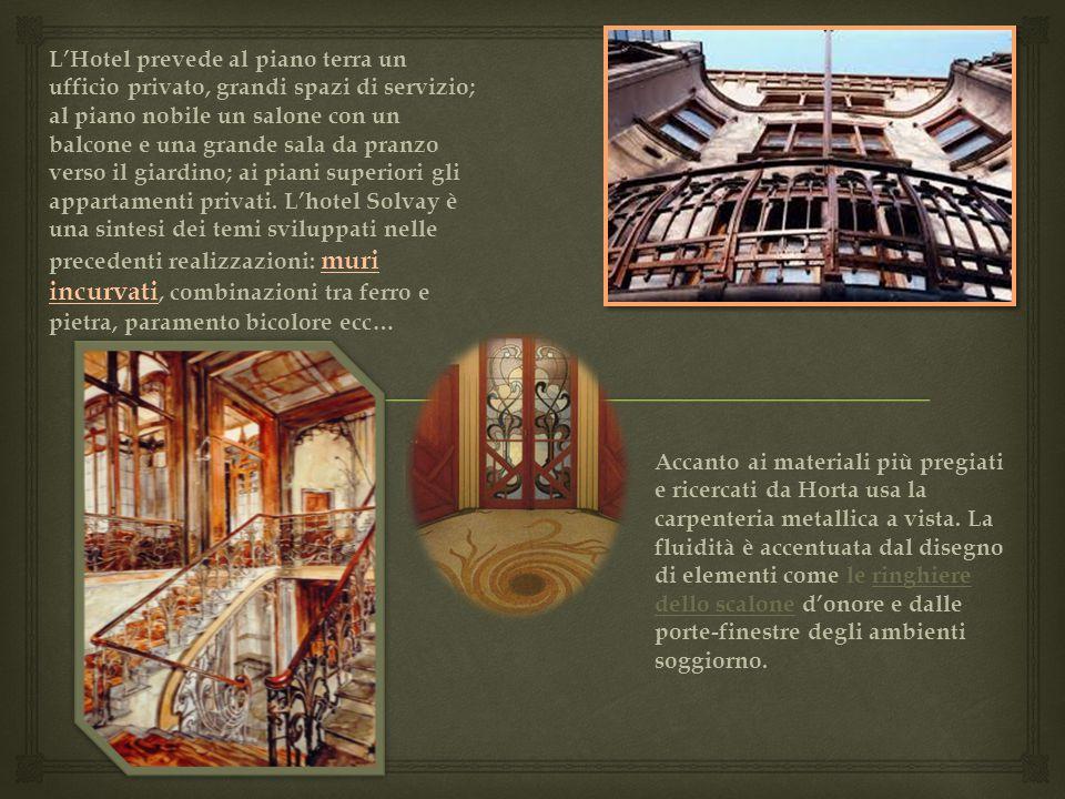 L'Hotel prevede al piano terra un ufficio privato, grandi spazi di servizio; al piano nobile un salone con un balcone e una grande sala da pranzo vers