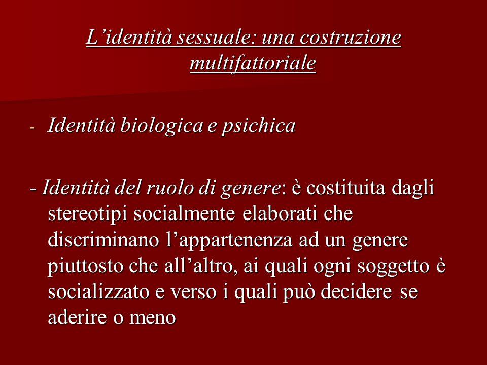 L'identità sessuale: una costruzione multifattoriale - Identità biologica e psichica - Identità del ruolo di genere: è costituita dagli stereotipi soc