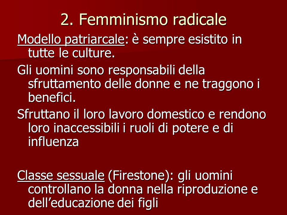 2. Femminismo radicale Modello patriarcale: è sempre esistito in tutte le culture. Gli uomini sono responsabili della sfruttamento delle donne e ne tr