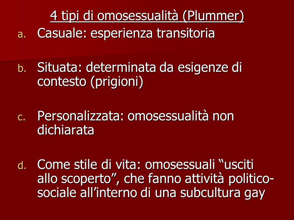 4 tipi di omosessualità (Plummer) a. Casuale: esperienza transitoria b. Situata: determinata da esigenze di contesto (prigioni) c. Personalizzata: omo